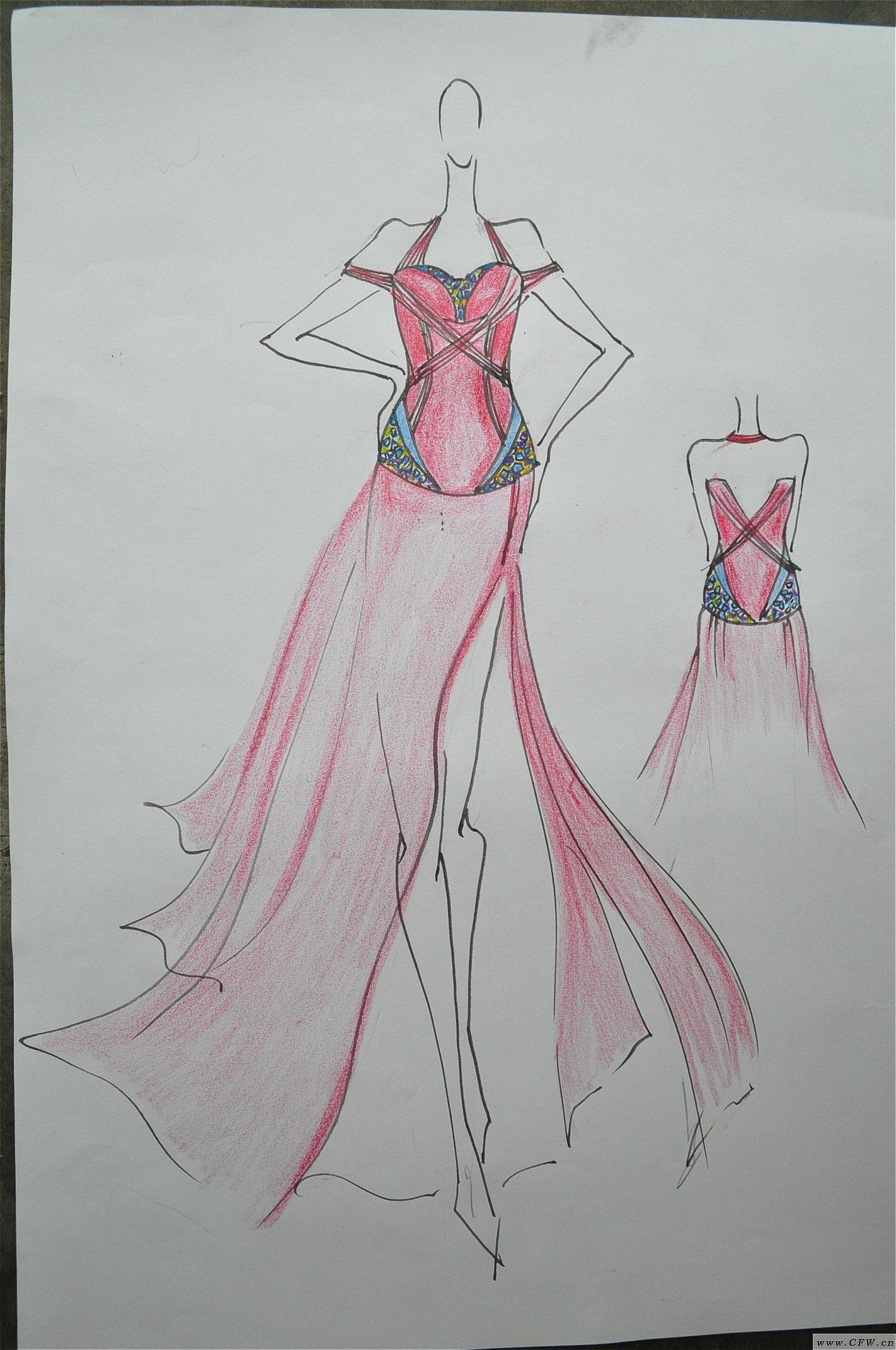 手绘能力展示-婚纱礼服设计-服装设计