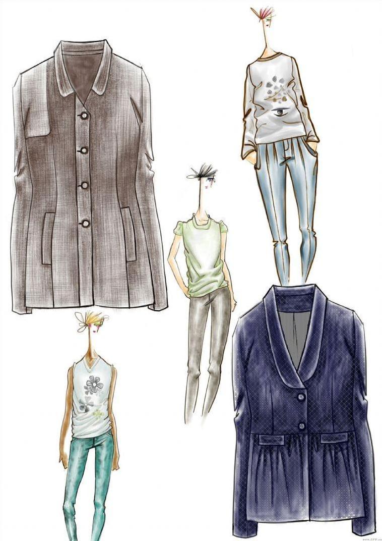 女装设计手绘图作品-女装设计手绘图款式图