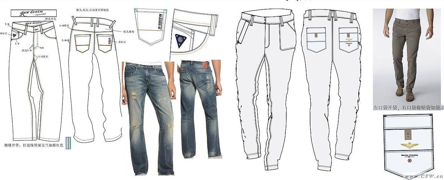 裤子类设计-男装设计-服装设计