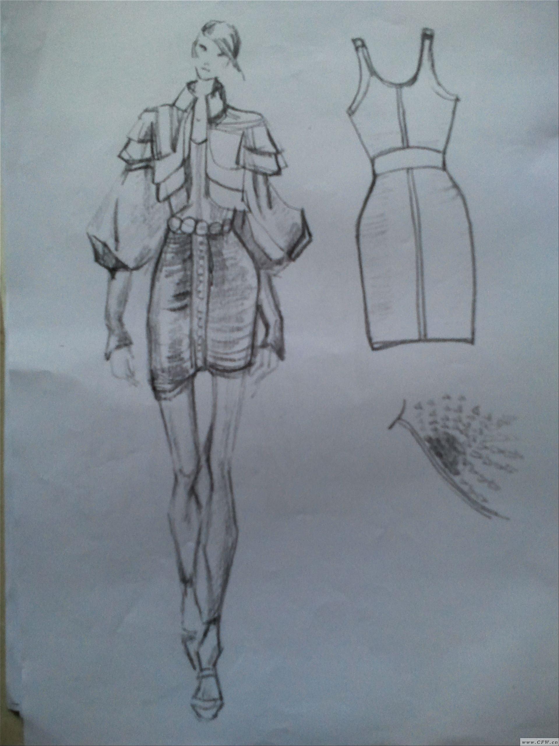 效果图黑白-女装设计-服装设计