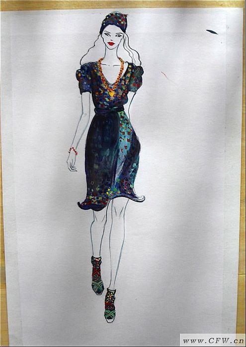 服装效果图临摹-女装设计-服装设计