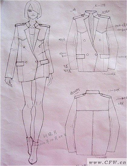 铅笔稿-帅气西装-女装设计-服装设计