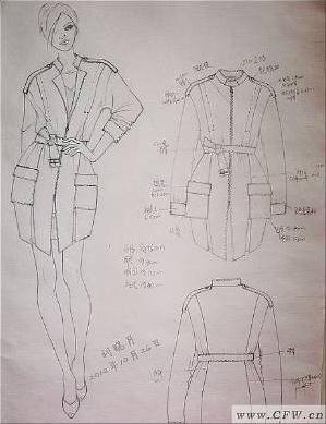 铅笔稿-风衣-女装设计-服装设计-服装设计网手机版|触