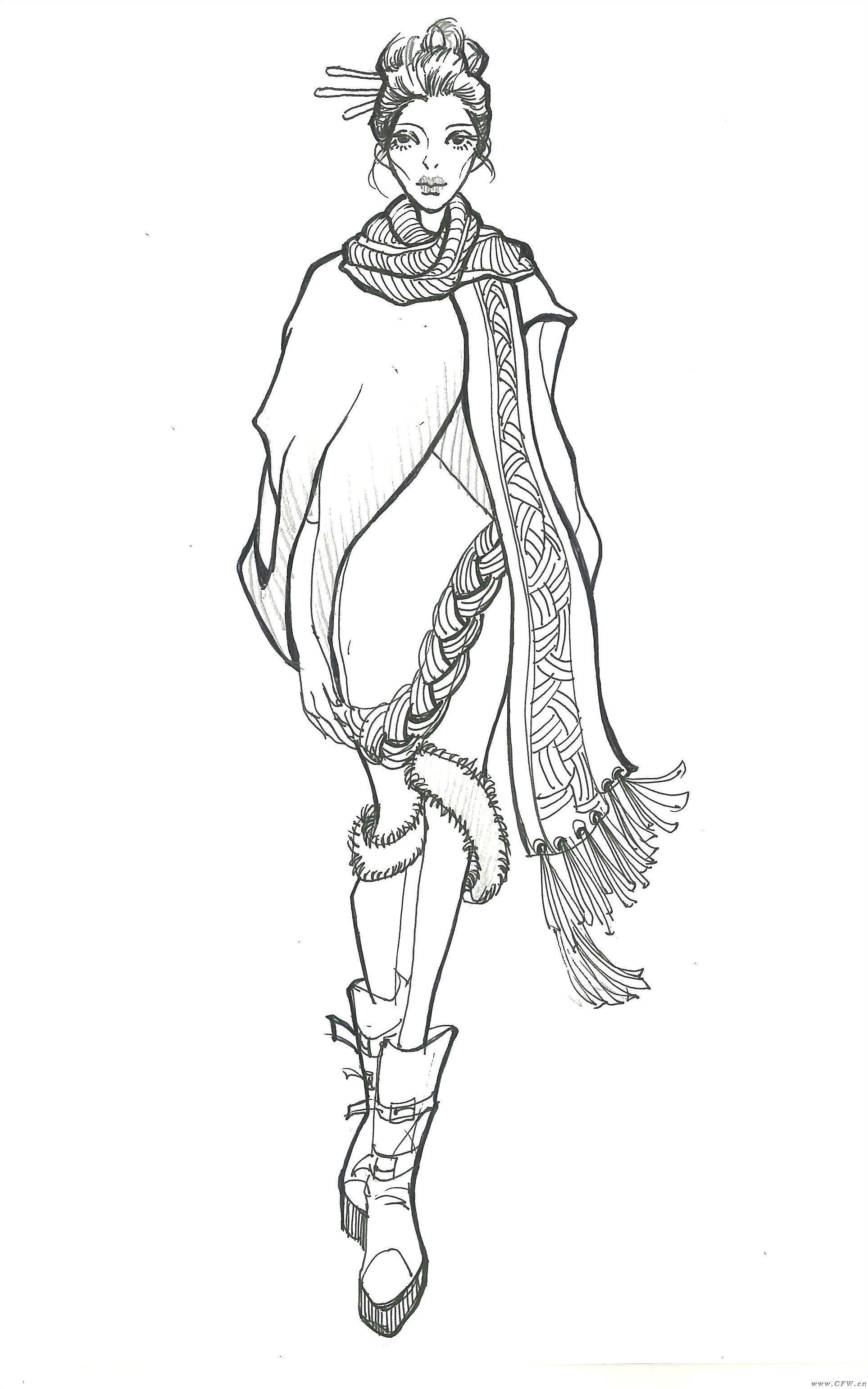 手绘线稿-女装设计-服装设计