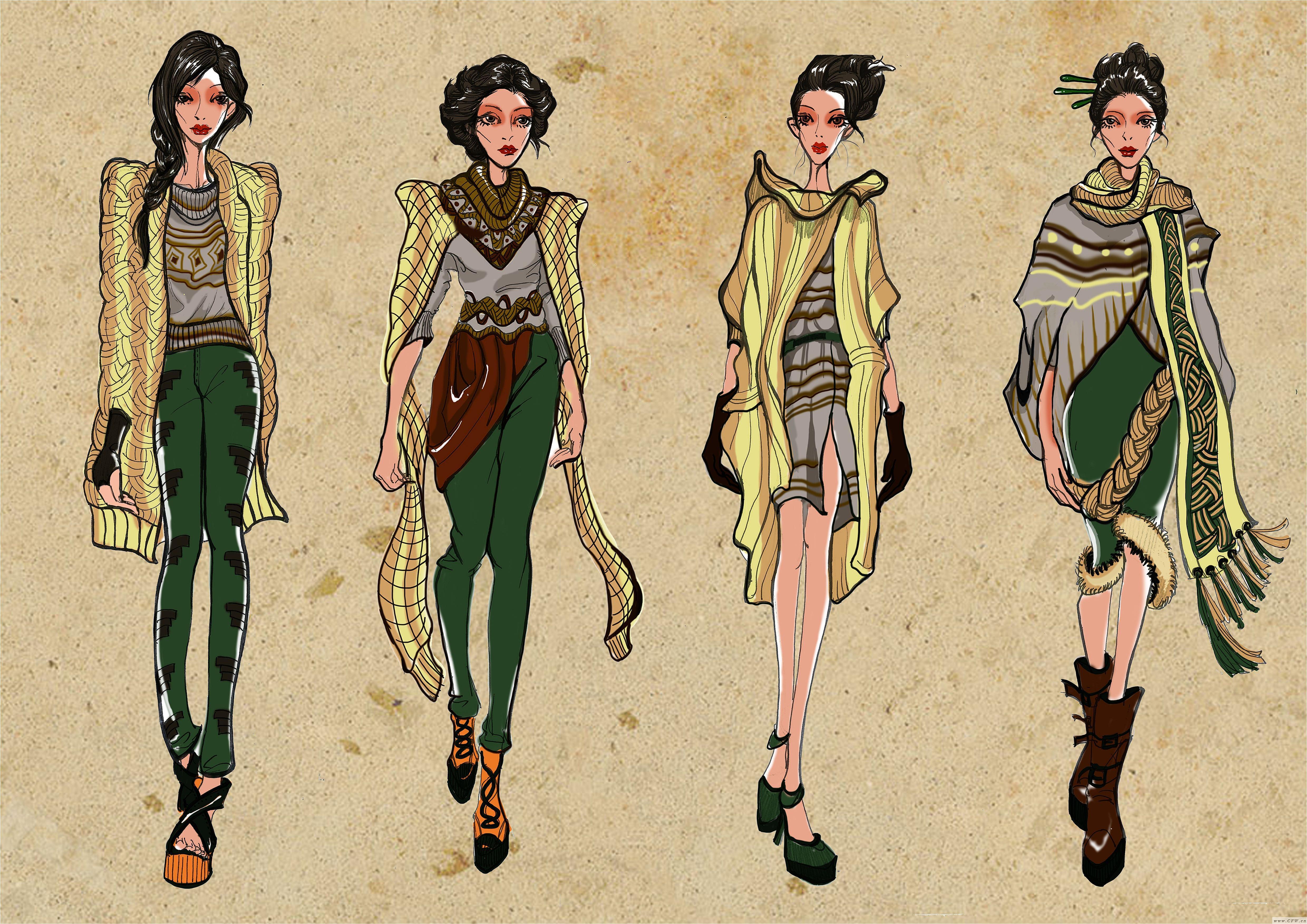 电脑手绘效果图-女装设计-服装设计