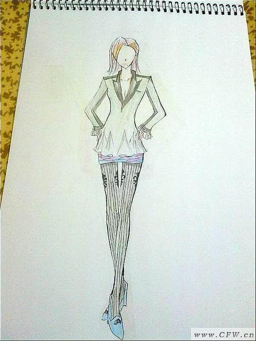 本人服装手绘图及平面效果图