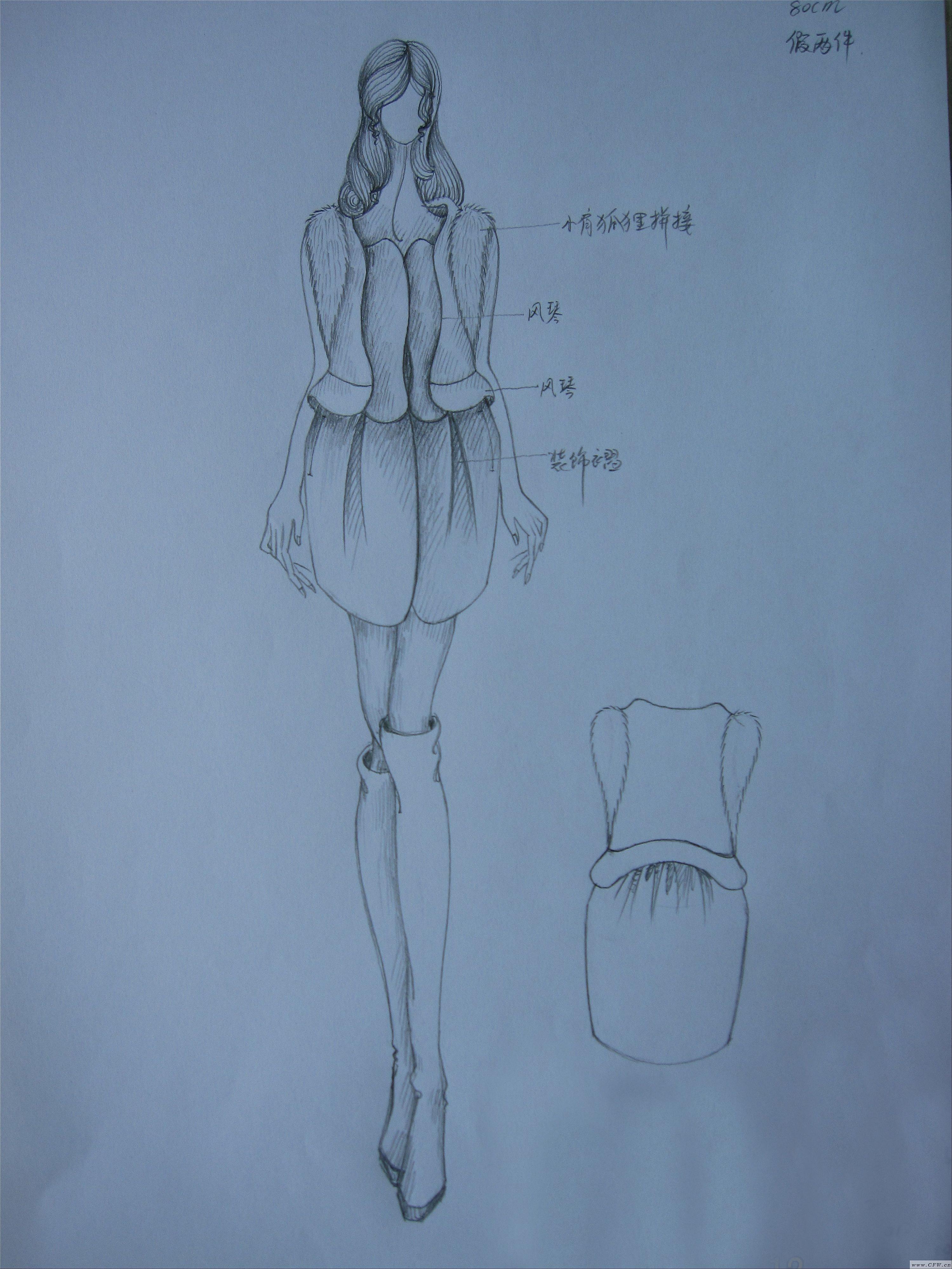 呢大衣服装效果图手绘