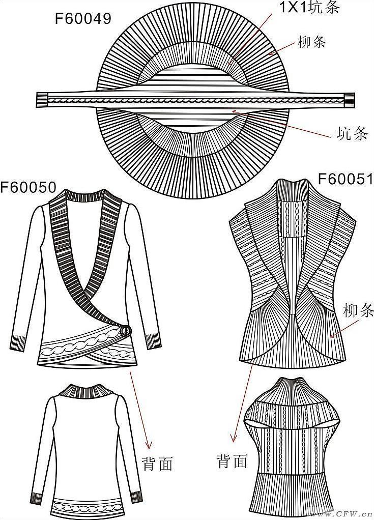 罗纹大圆摆-毛衫针织设计-服装