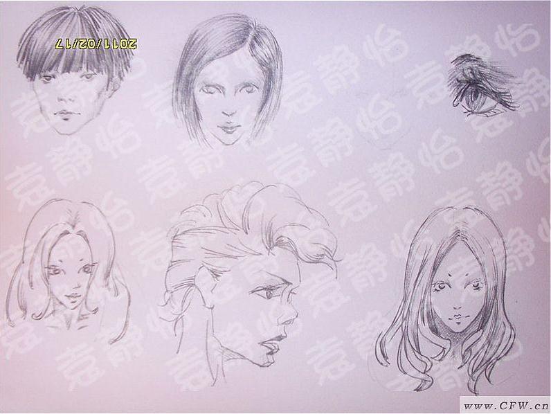 女头手稿-图案设计设计-服装设计