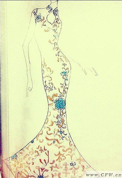手绘礼服图-婚纱礼服设计-服装设计