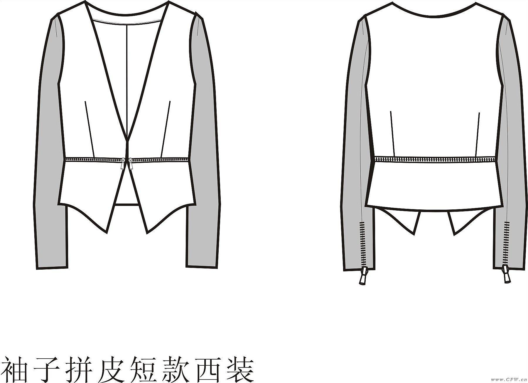 女式袖子拼皮短款小西装