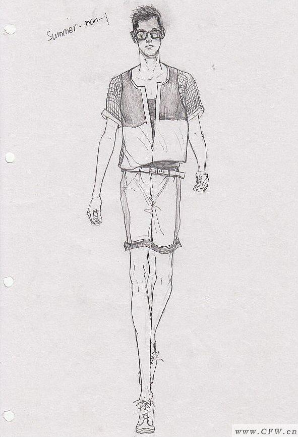 休闲男装手绘-男装设计-服装设计