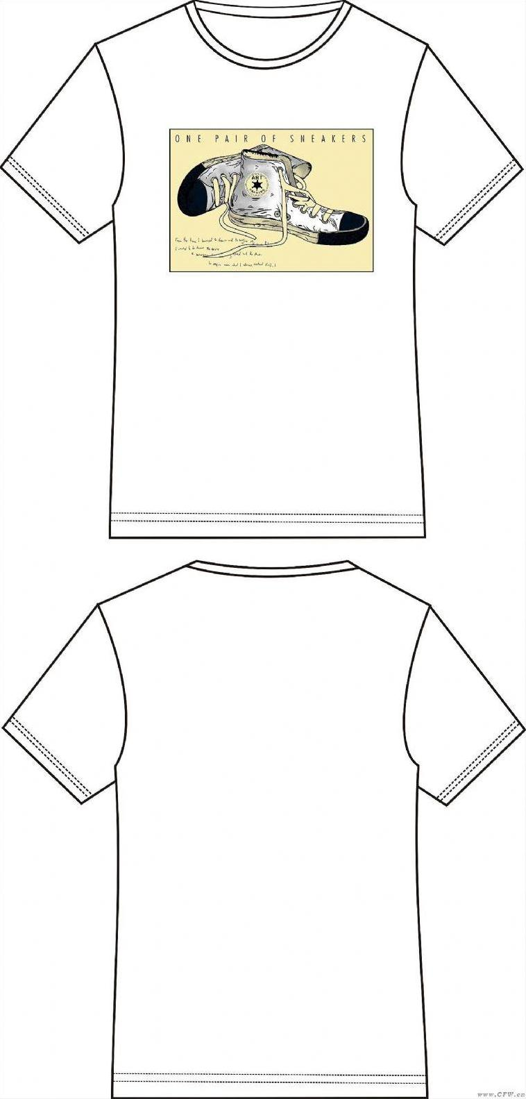T型服装款式图手绘