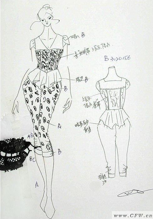 时尚连身裤作品-时尚连身裤款式图