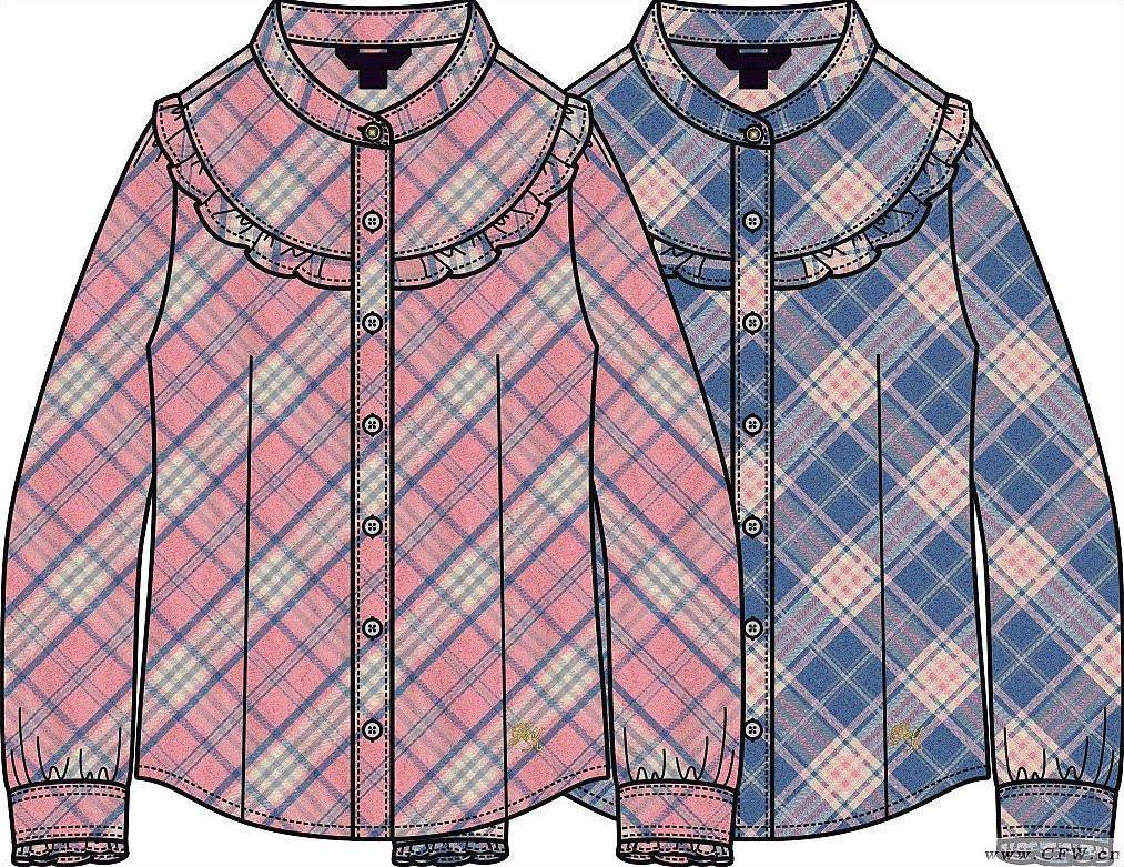 休闲衬衫款式图-童装设计-服装设计