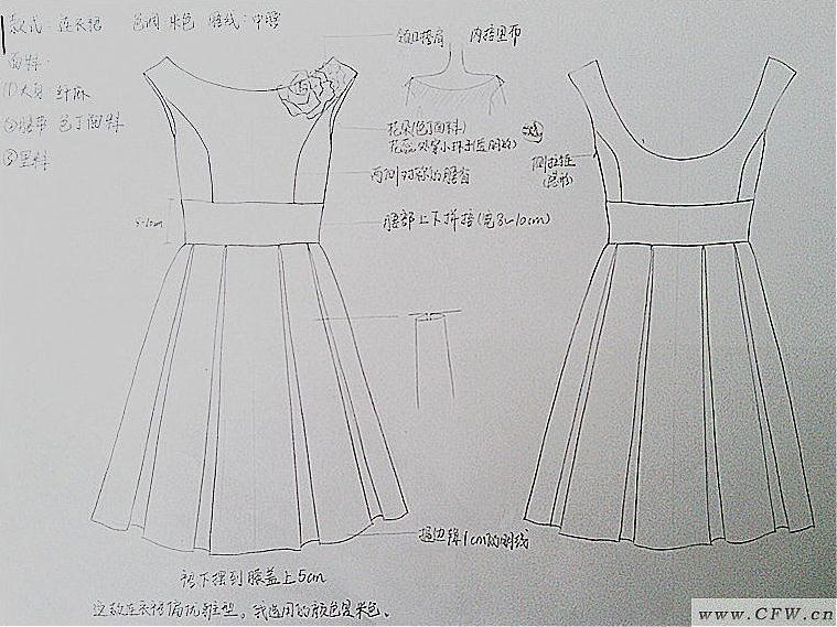 衣服款式图手稿-女装设计-服装设计