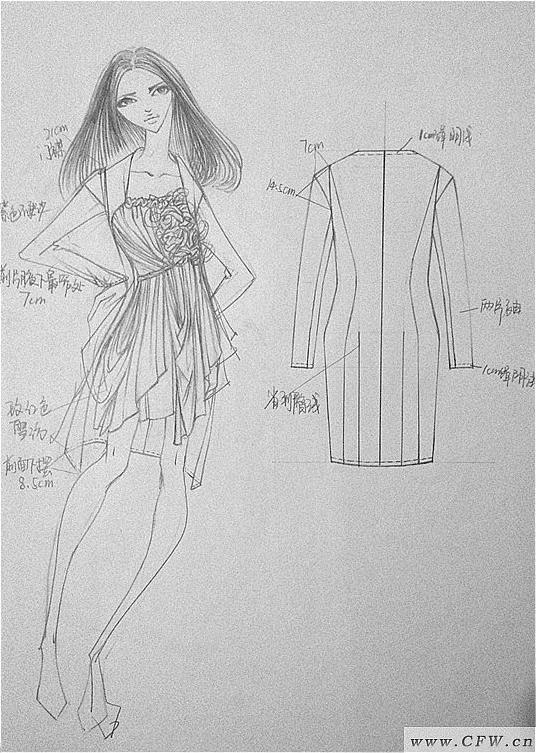 手绘女装线稿 人体效果图 衣服款式图