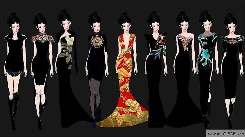 中式礼服设计-婚纱礼服设计-服装设计