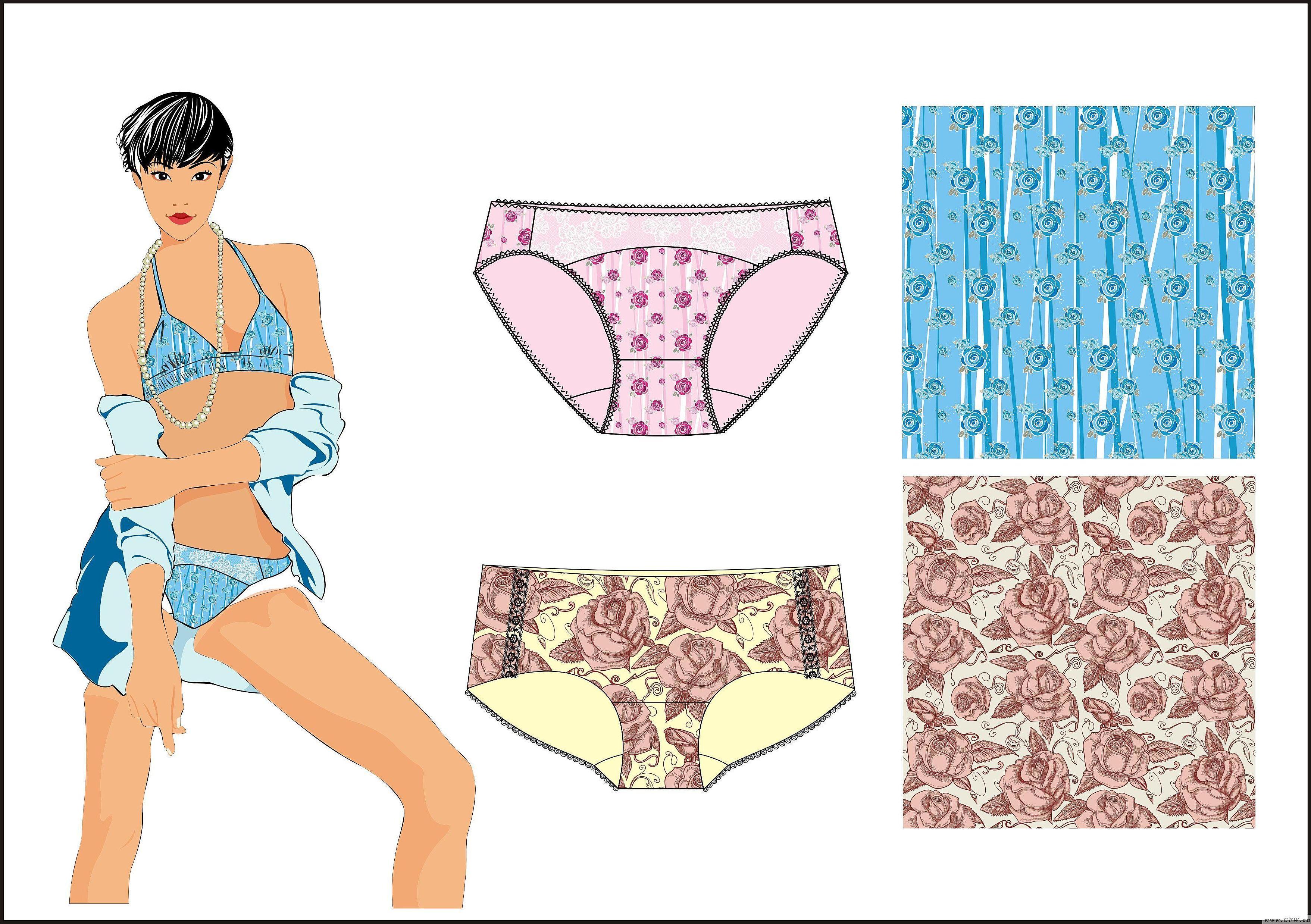 电脑手绘-内衣/家居设计-服装设计