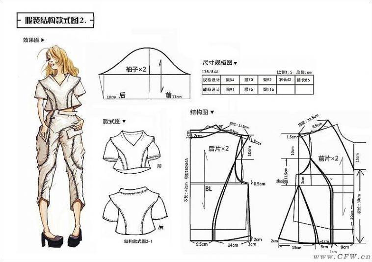 效果图及衣服款式图