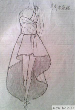 单肩晚礼服-女装设计-服装设计-服装设计网手机版|触