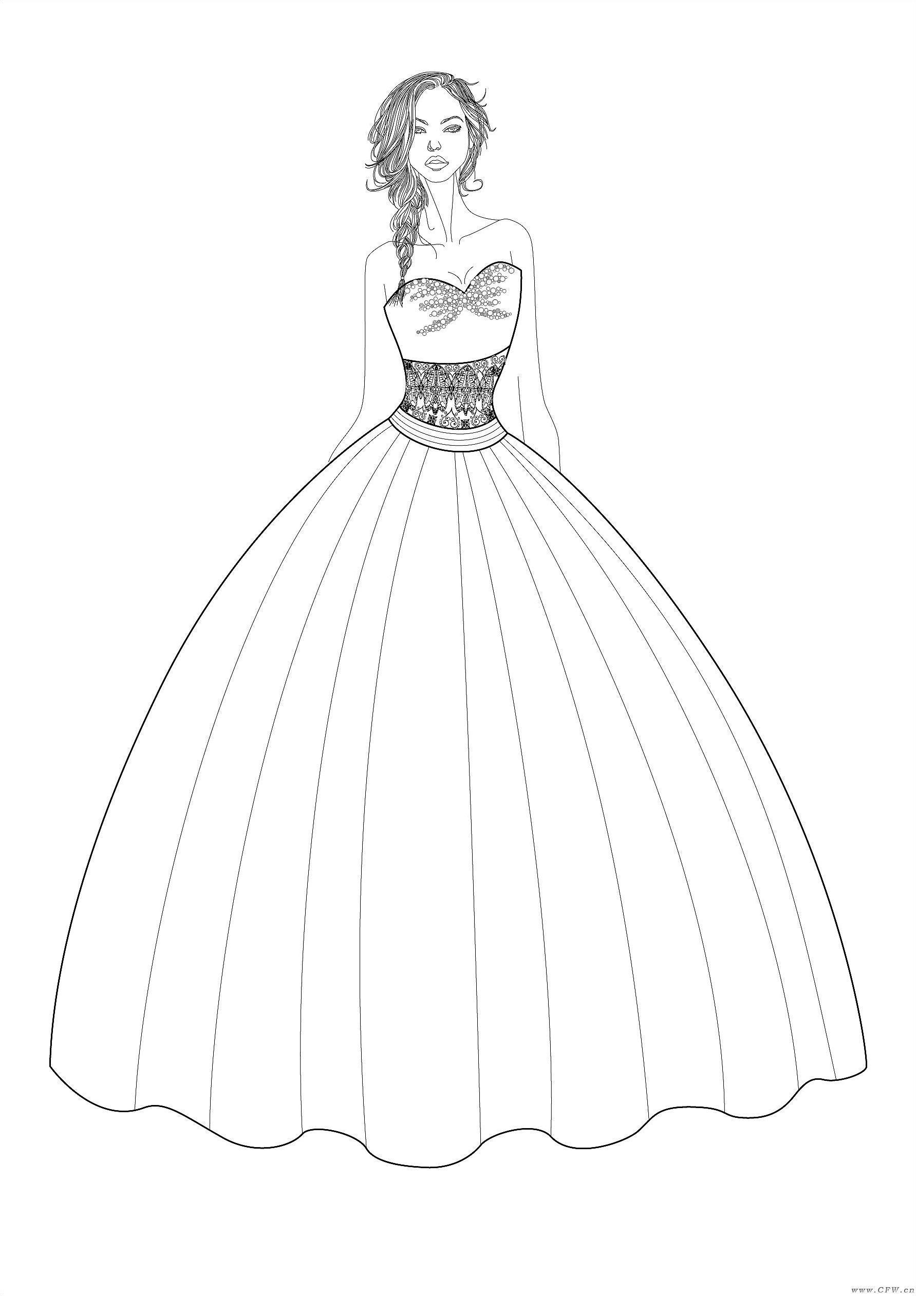 画婚纱的简笔画步骤