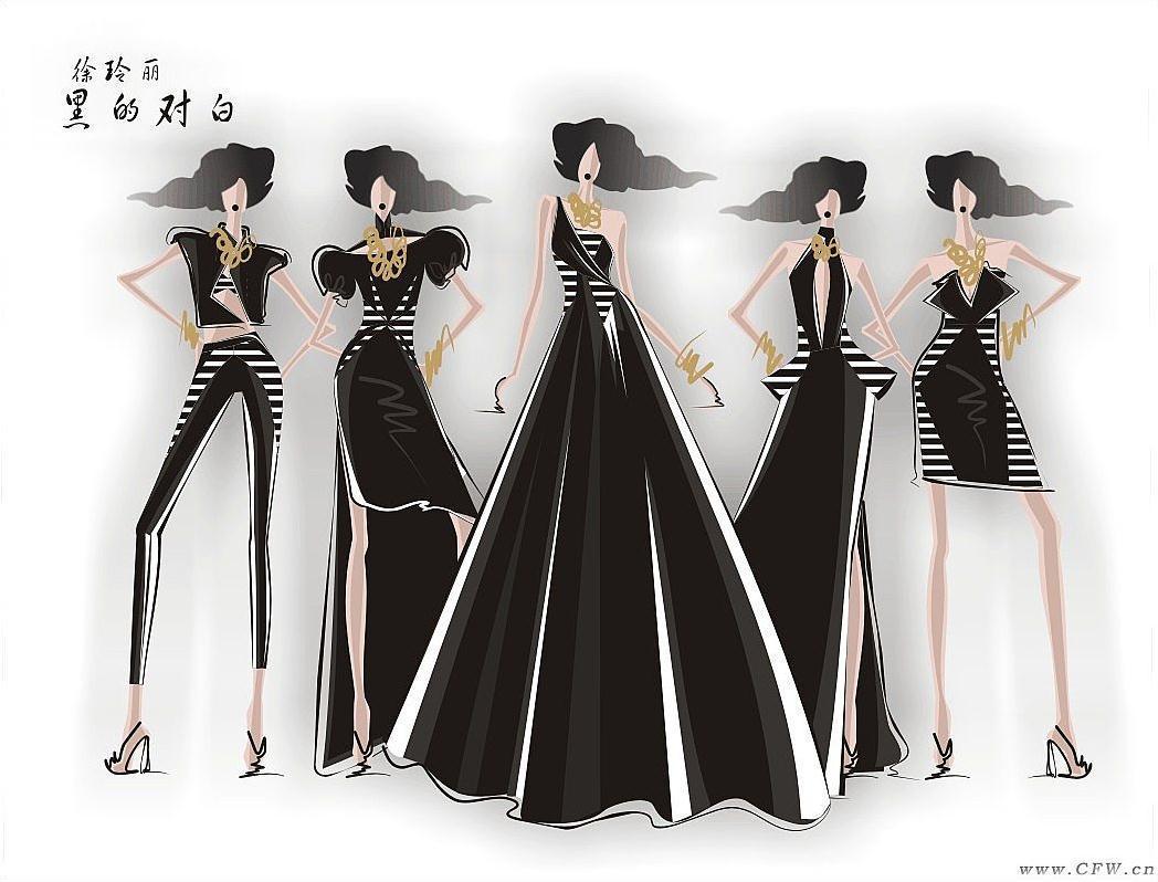 呈现黑白条纹与流行服装结合的新风貌.