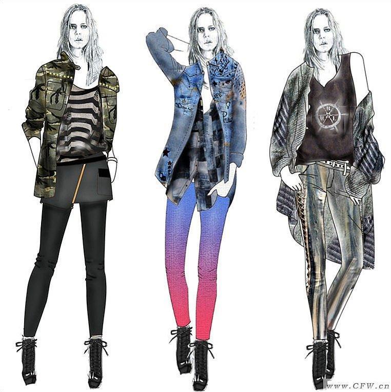 服装搭配效果图-女装设计-服装设计