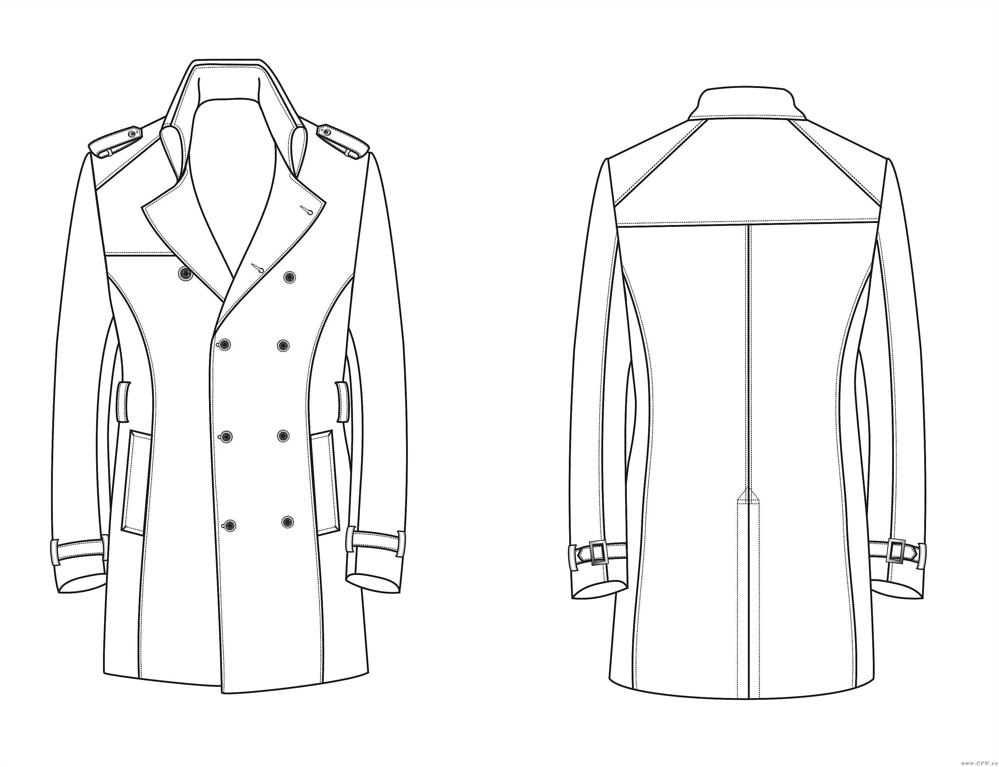 男装大衣风衣款式图