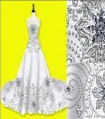 公主奢华闪钻花水晶蕾丝婚纱