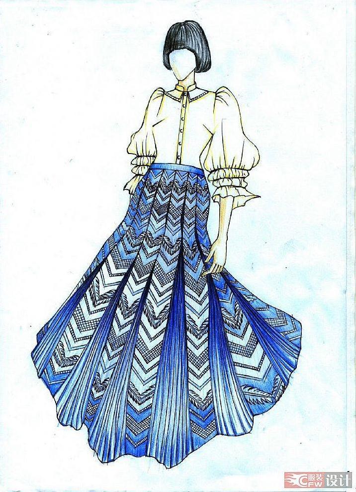 彩铅画-女装设计-服装设计