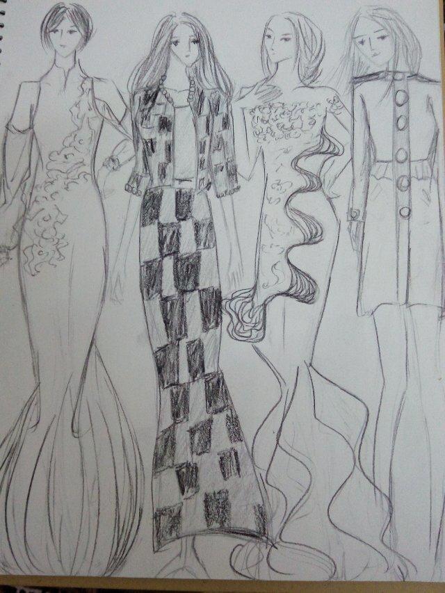 蕾丝服装效果图手绘