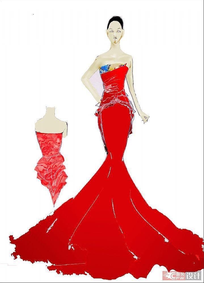中国风礼服-婚纱礼服设计-服装设计