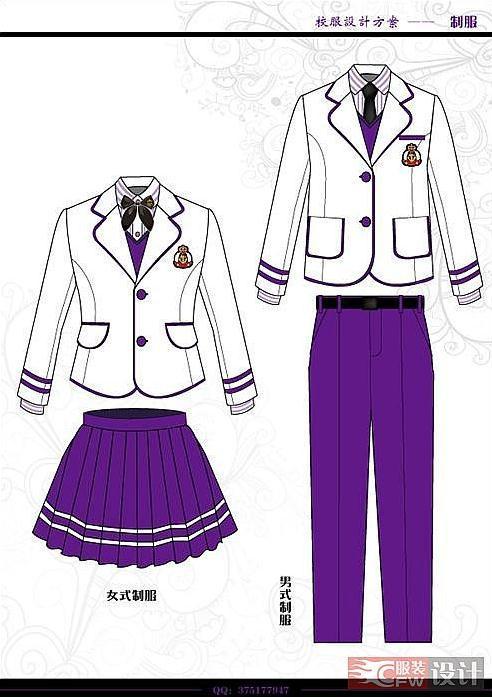 班服设计校服设计图收集-职业服装设计-服装设计