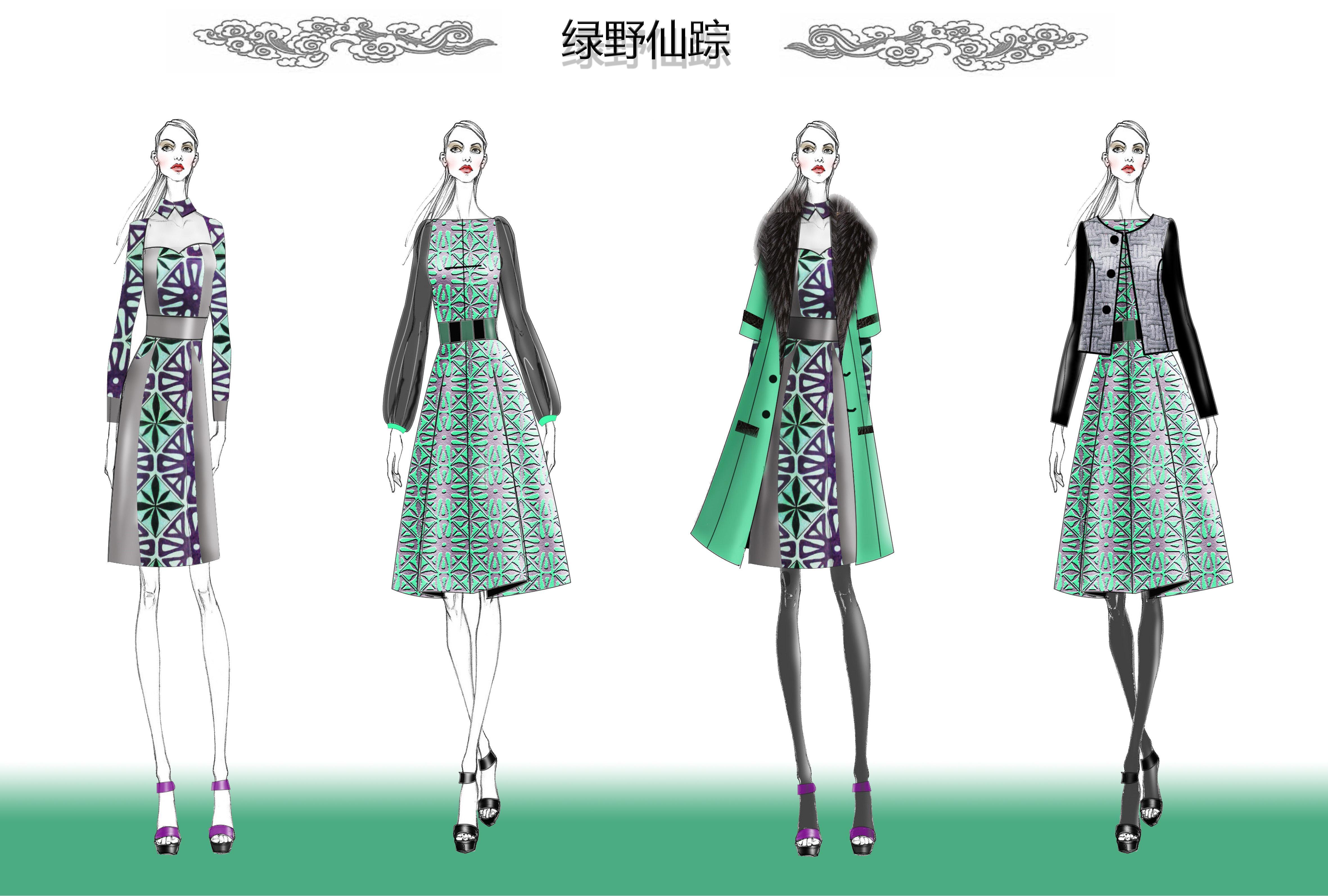 创意:此次系列设计灵感来源于电影绿野仙踪,一个童话般美好的世界。色彩运用也非常清新亮丽,连衣裙款式修身,便于搭配。大呢外套采用超廓型设计,前卫又知性。短外套是经典小香风格,简约优雅。另外,相信一个喜欢把花朵穿在身上的女性一定是幸福的。