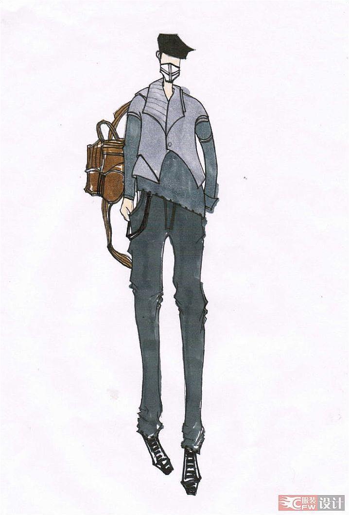 手绘效果图-男装设计-服装设计