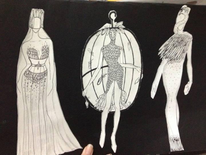 羽毛元素黑白手稿-其它设计设计-服装设计
