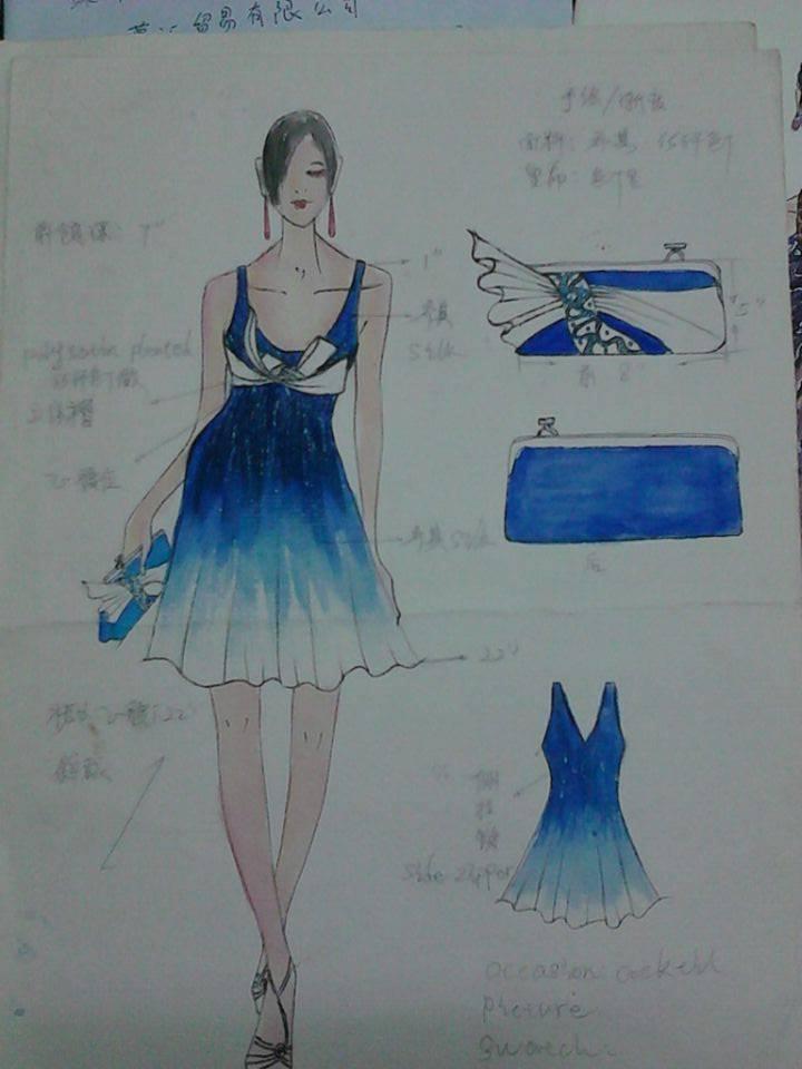 荷葉短裙手繪效果圖-婚紗禮服設計-服裝設計