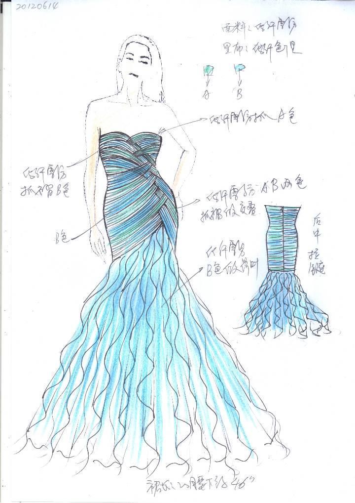 荷叶短裙手绘效果图-婚纱礼服设计-服装设计