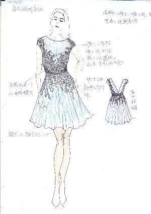 荷叶短裙手绘效果图-婚纱礼服设计-服装设计-服装设计