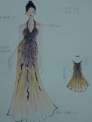 荷叶短裙手绘效果图