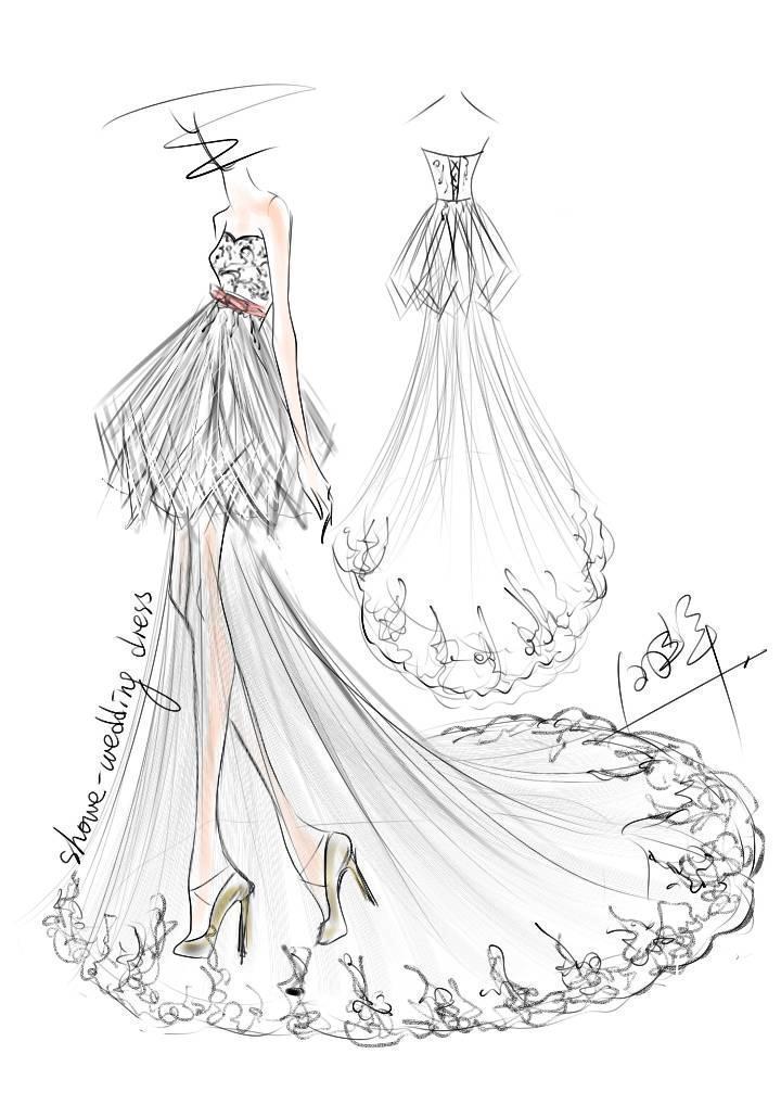 婚纱手稿手绘效果图-婚纱礼服设计-服装设计