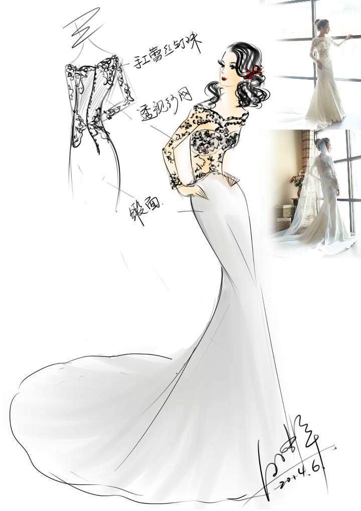 婚纱设计手稿手绘效果图-婚纱礼服设计-服装设计