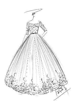婚纱手稿手绘效果图-婚纱礼服设计-服装设计-服装设计