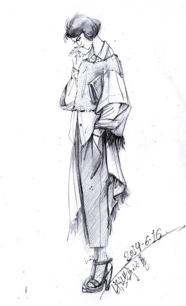 手绘效果图手稿-女装设计-服装设计