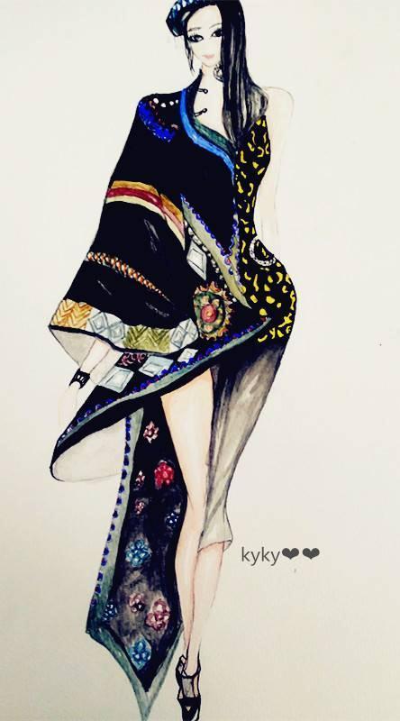 民族时尚手绘效果图-女装设计-服装设计