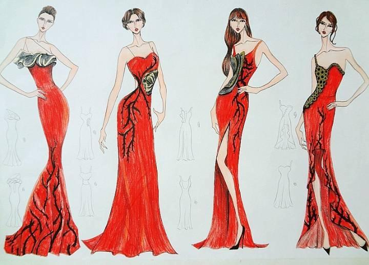 red手绘效果图-婚纱礼服设计-服装设计