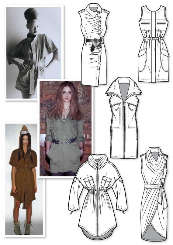 连衣裙时装款式图收集-女装设计-服装设计