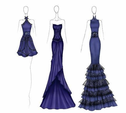晚礼服手稿图片-婚纱礼服设计-服装设计