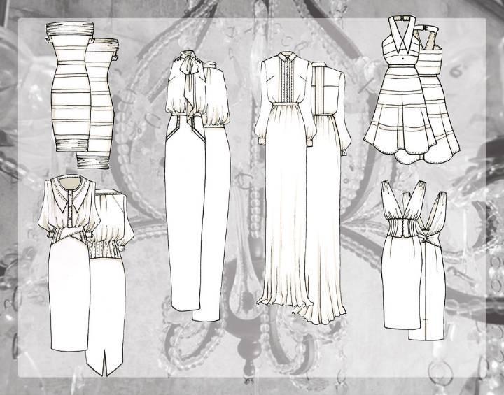 连衣裙时装款式图
